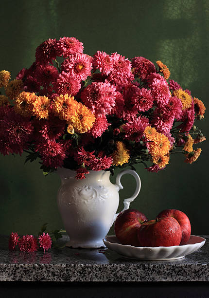 Chrysanthemum flowers in vase