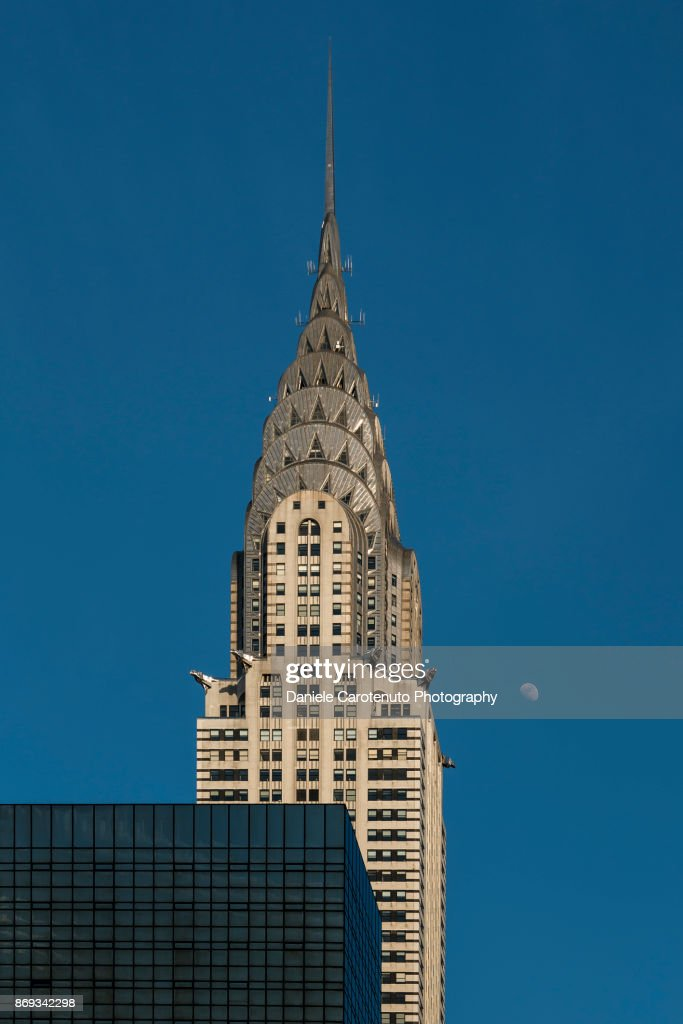 Chrysler Building and the moon : Stock Photo