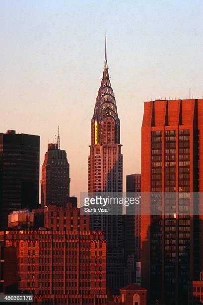 Chrysler Building at sunset on August 151986 in New York New York