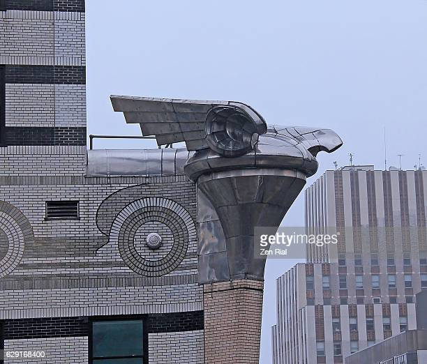 Chrysler building Eagle Gargoyle on a rainy day - Manhattan, New York City