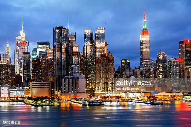Chrysler Building, Empire State Building, Hudson River, New York City, Skyline, New York, America
