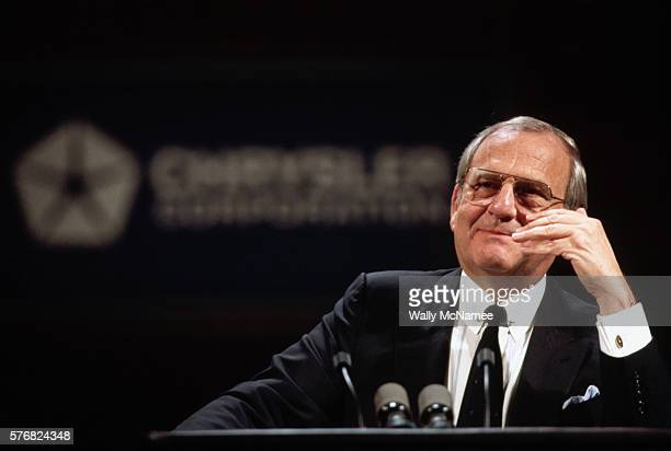 Chrysler CEO Lee Iacocca introduces his company's new line of cars at a sales meeting in New Orleans in September of 1984