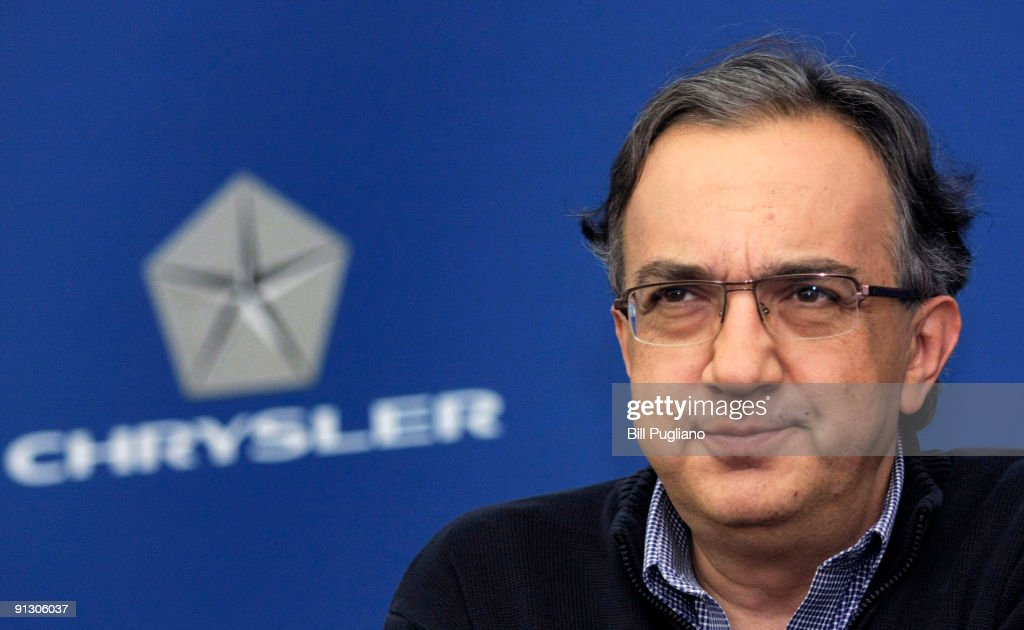 Chrysler CEO Marchionne Speaks To The Media At Company's Headquarters
