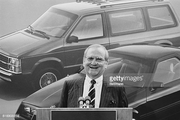 Chrysler Chairman Lee Iacocca announcing Chrysler's record $7058 million first quarter profit in 1984 in Highland Park in Michigan The profit was...