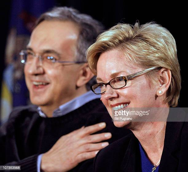 Chrysler Group LLC CEO Sergio Marchionne and Michigan Gov Jennifer Granholm attend an event that celebrates the latest announcements about Chrysler...