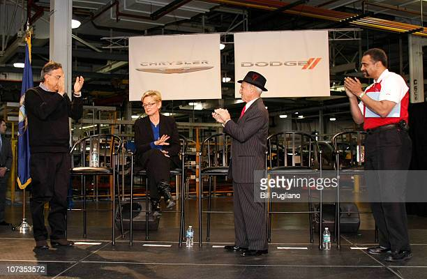 Chrysler Group LLC CEO Sergio Marchionne and others applaude Michigan Gov Jennifer Granholm at an event that celebrates the latest announcements...