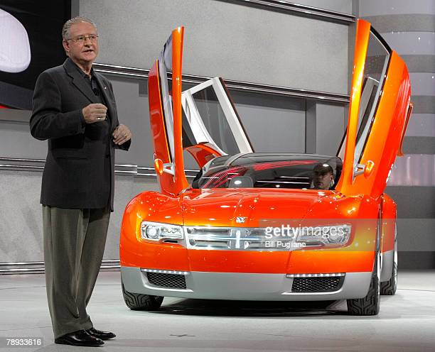 Chrysler Senior Vice President of Design Trevor Creed introduces the new Dodge ZEO Concept vehicle at the 2008 North American International Auto Show...