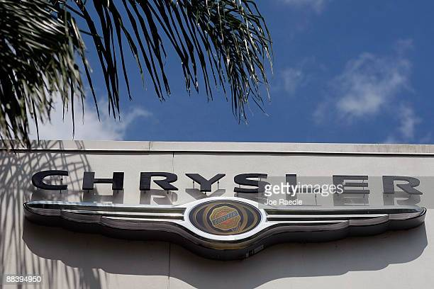 Chrysler sign hangs on the side of Maroone Chrysler Jeep Dodge dealership after it was forced to close June 10 2009 in Coconut Creek Florida Italy's...