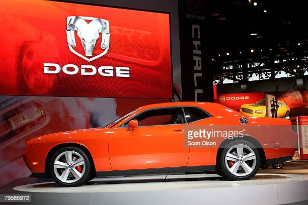 Chrysler unveils the 2009 Dodge Challenger SRT at the Chicago Auto Show February 6 2008 in Chicago Illinois The car which will have a top speed of...