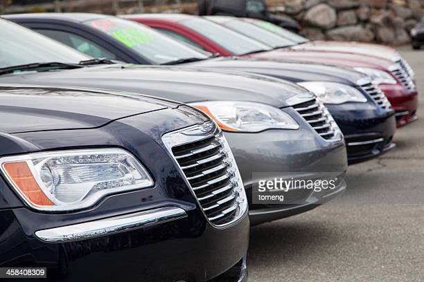 Chrysler Vehicles in a Row at Car Dealership