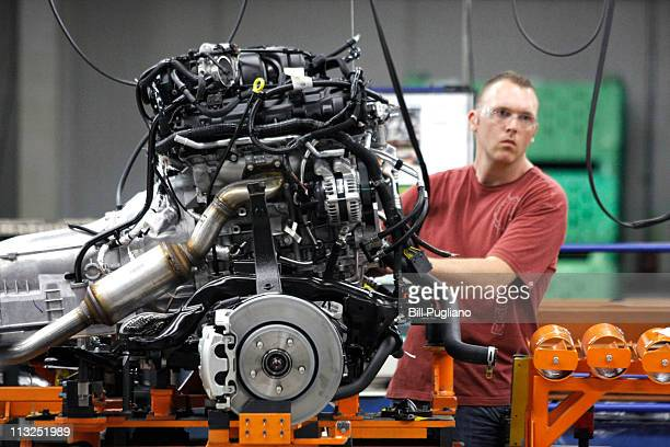 Chrysler worker mans the assembly line at the Chrysler Jefferson North Assembly Plant April 28 2011 in Detroit Michigan To coincide with US Secretary...