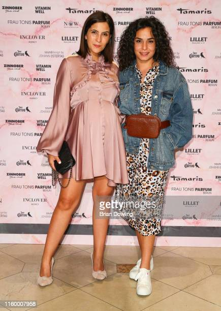 Chryssanthi Kavazi and a guest at the Marcel Ostertag Fashion Show during the Berlin Fashion Week Spring/Summer 2020 at Westin Grand Hotel on July 03...