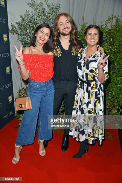Chryssanthi Kavazi Riccardo Simonetti and Steffi Brungs attend the Lidl Esmara x Influencer collection launch at Glashaus on March 28 2019 in Berlin...