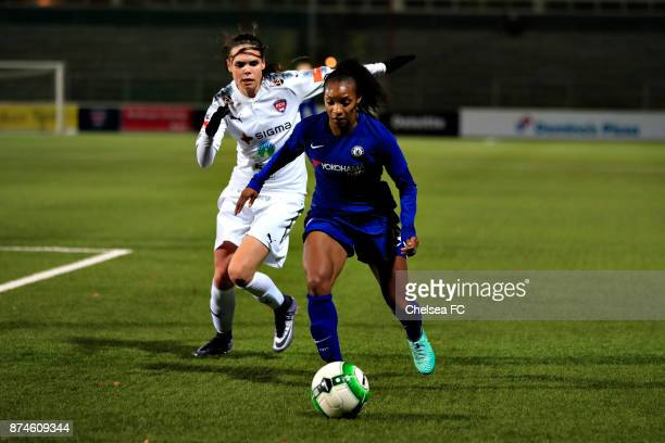 Chrystal Dunn of Chelsea FC and Simone Sorensen of FC Rosengard during the UEFA Women's Champions League between Rosengard and Chelsea Ladies at...