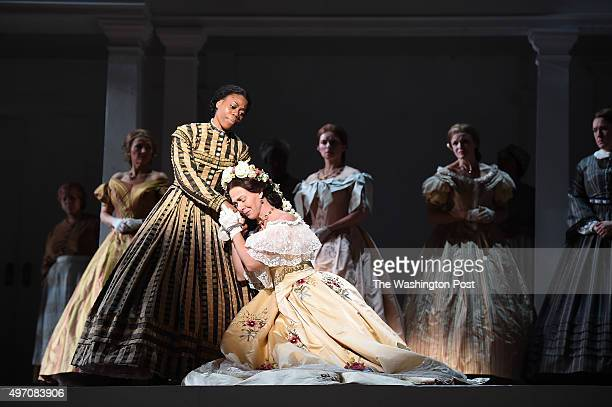 Chrystal E Williams left and AnneCarolyn Bird bottom center rehearse a scene for the opera Appomattox at the Kennedy Center on Monday November 09...