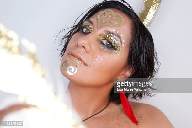 Chrystall Cooper prepares to take part in the annual Mardi Gras parade on March 02 2019 in Sydney Australia It is the first time Haka For Life have...