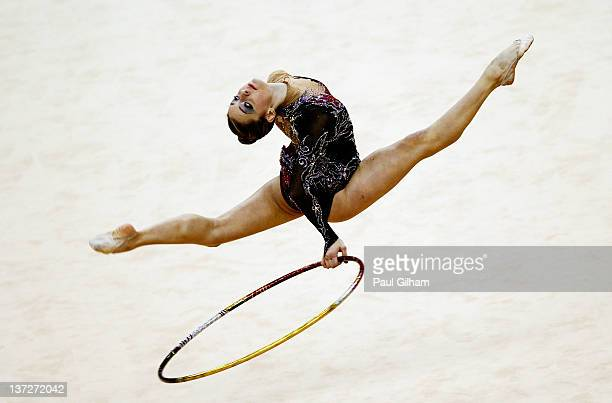 Chrystalleni Trikomiti of Cyprus in action in the Individual AllAround during the FIG Rhythmic Gymnastics Olympic Qualification round at North...