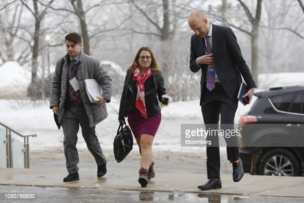 Chrystia Freeland Canada's foreign affairs minister center arrives for a meeting of the Lima Group in Ottawa Ontario Canada on Monday Feb 4 2019...