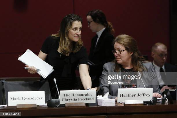 Chrystia Freeland Canada's foreign minister arrives to testify to the Senate Committee on Foreign Affairs and International Trade in Ottawa Ontario...