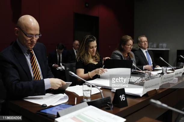 Chrystia Freeland Canada's foreign minister center arrives to testify to the Senate Committee on Foreign Affairs and International Trade in Ottawa...