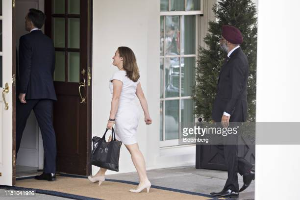 Chrystia Freeland Canada's foreign minister center walks in to the West Wing of the White House in Washington DC US on Thursday June 20 2019 Canadian...