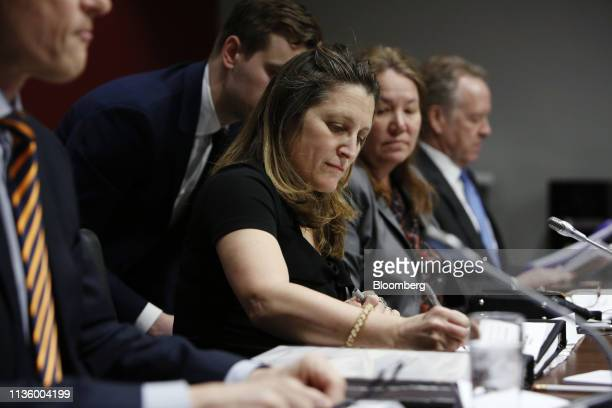 Chrystia Freeland Canada's foreign minister testifies to the Senate Committee on Foreign Affairs and International Trade in Ottawa Ontario Canada on...