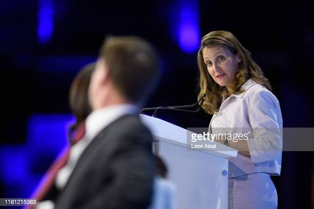 Chrystia Freeland Canada's Minister for Foreign Affairs speaks as Human rights barrister Amal Clooney and British Foreign Secretary Jeremy Hunt look...