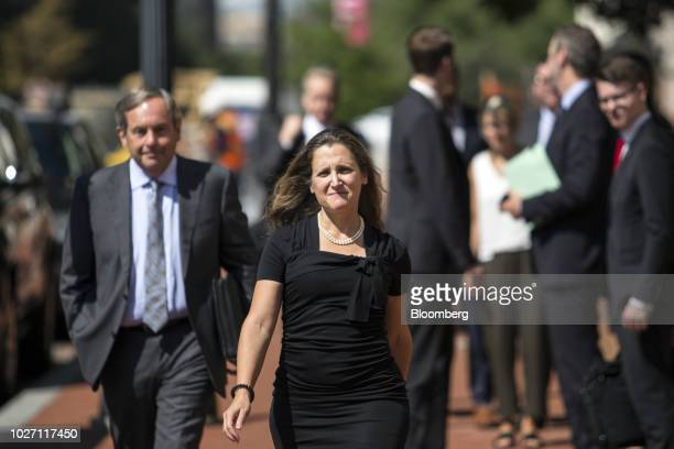 Chrystia Freeland Canada's minister of foreign affairs arrives at the US Trade Representative office in Washington DC US on Wednesday Sept 5 2018...