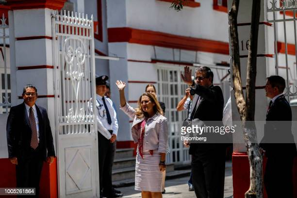 Chrystia Freeland Canada's minister of foreign affairs center waves while arriving for a meeting with Andres Manuel Lopez Obrador Mexico's...