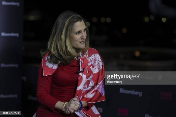 Chrystia Freeland Canada's minister of foreign affairs gestures as she speaks during a Bloomberg Television interview on the opening day of the World...