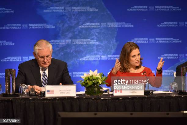 Chrystia Freeland Canada's Minister of Foreign Affairs gives opening remarks as Rex Tillerson US Secretary of State listens at the 'Vancouver Foreign...
