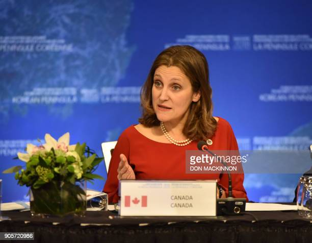 Chrystia Freeland Canada's Minister of Foreign Affairs gives opening remarks at the 'Vancouver Foreign Ministers Meeting on Security and Stability on...
