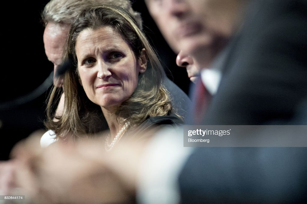 Chrystia Freeland, Canada's minister of foreign affairs, listens during the first round of North American Free Trade Agreement (NAFTA) renegotiations in Washington, D.C., U.S., on Wednesday, Aug. 16, 2017. Canada and Mexico largely want to defend the advantages they have enjoyed under the two-decade-old Nafta deal, keep it free of tariffs and broaden it to new industries. President Donald Trump has called Nafta the worst trade pact in history and promised to fix it through negotiations or withdraw. Photographer: Andrew Harrer/Bloomberg via Getty Images
