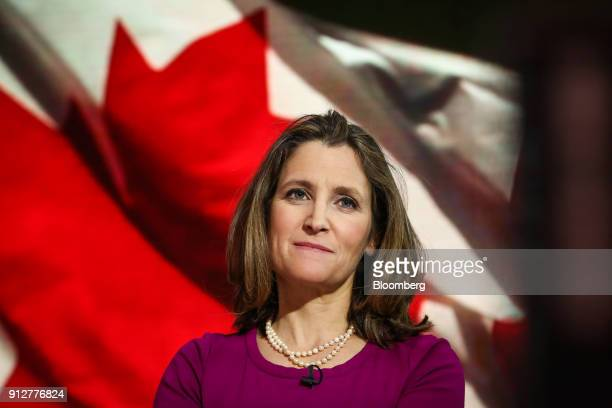 Chrystia Freeland Canada's minister of foreign affairs listens during a Bloomberg Television interview in New York US on Wednesday Jan 31 2018...
