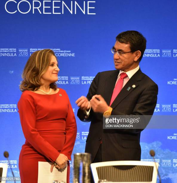 Chrystia Freeland Canada's Minister of Foreign Affairs listens while Taro Kono Japan's Foreign Affairs Minister speaks during the 'Vancouver Foreign...