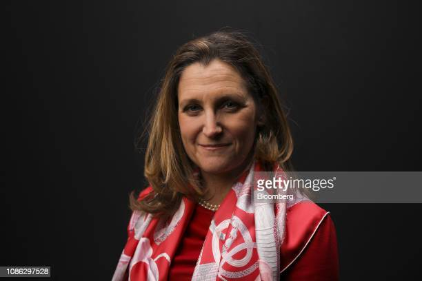 Chrystia Freeland Canada's minister of foreign affairs poses for a photograph following a Bloomberg Television interview on the opening day of the...