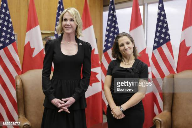 Chrystia Freeland Canada's minister of foreign affairs right and Kelly Craft US ambassador to Canada stand for a photograph during a meeting at the...