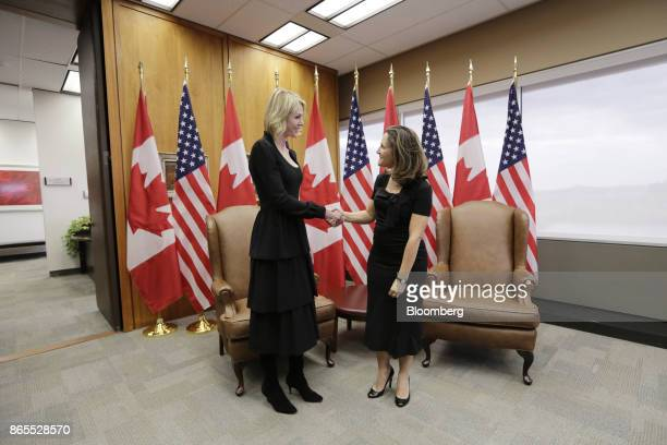 Chrystia Freeland Canada's minister of foreign affairs right shakes hands with with Kelly Craft US ambassador to Canada during a meeting at the...