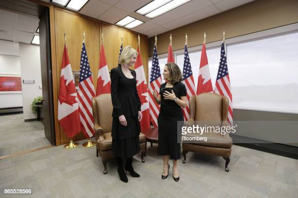 Chrystia Freeland Canada's minister of foreign affairs right speaks with Kelly Craft US ambassador to Canada during a meeting at the Lester B Pearson...