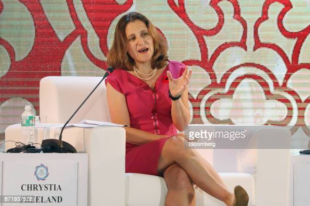 Chrystia Freeland Canada's minister of foreign affairs speaks at the AsiaPacific Economic Cooperation CEO Summit in Danang Vietnam on Thursday Nov 9...