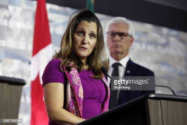 Chrystia Freeland Canada's minister of foreign affairs speaks during a news conference in Ottawa Ontario Canada on Monday Oct 22 2018 Freeland...