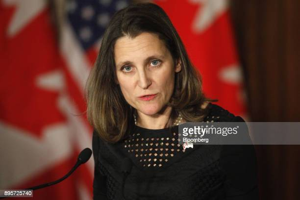 Chrystia Freeland Canada's minister of foreign affairs speaks during a joint press conference with Rex Tillerson US Secretary of State not pictured...