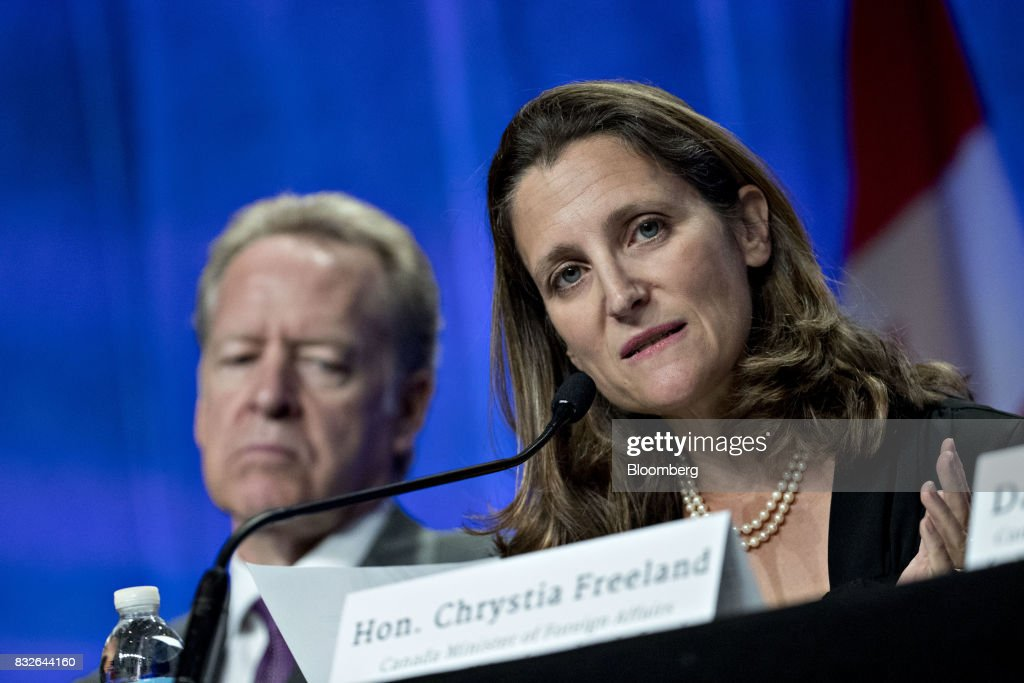Chrystia Freeland, Canada's minister of foreign affairs, speaks during the first round of North American Free Trade Agreement (NAFTA) renegotiations in Washington, D.C., U.S., on Wednesday, Aug. 16, 2017. Canada and Mexico largely want to defend the advantages they have enjoyed under the two-decade-old Nafta deal, keep it free of tariffs and broaden it to new industries. President Donald Trump has called Nafta the worst trade pact in history and promised to fix it through negotiations or withdraw. Photographer: Andrew Harrer/Bloomberg via Getty Images