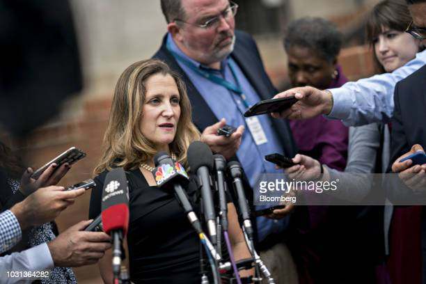 Chrystia Freeland Canada's minister of foreign affairs speaks to members of the media while arriving at the US Trade Representative office in...