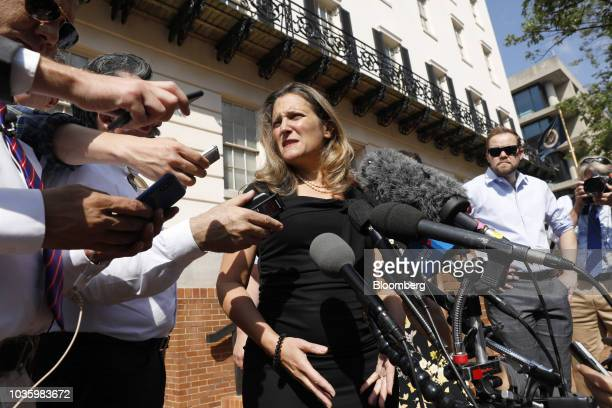 Chrystia Freeland Canada's minister of foreign affairs speaks to members of the media outside the US Trade Representative office in Washington DC US...