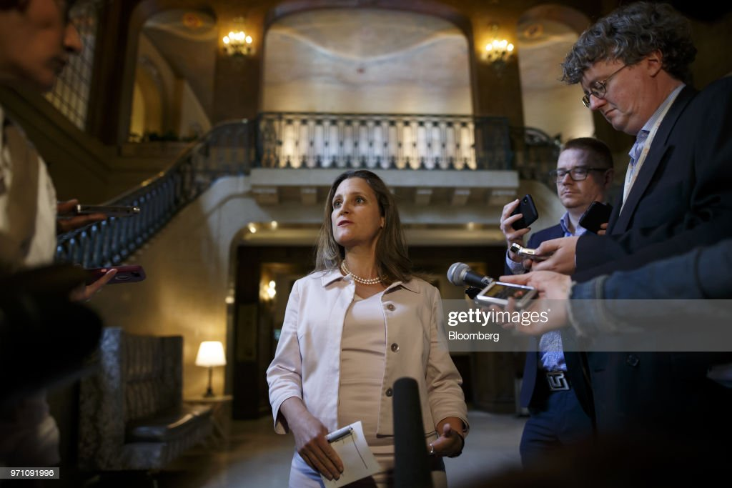 Chrystia Freeland, Canada's minister of foreign affairs, speaks to members of the media during a press conference following the Group of Seven (G7) Leaders Summit in Quebec City, Quebec, Canada, on Sunday, June 10, 2018. Freeland discussed President Donald Trump's remarks said that 'Canada does not conduct its diplomacy through ad hominem attacks.' Photographer: Cole Burston/Bloomberg via Getty Images