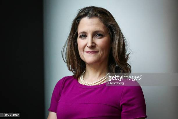 Chrystia Freeland Canada's minister of foreign affairs stands for a photograph after a Bloomberg Television interview in New York US on Wednesday Jan...