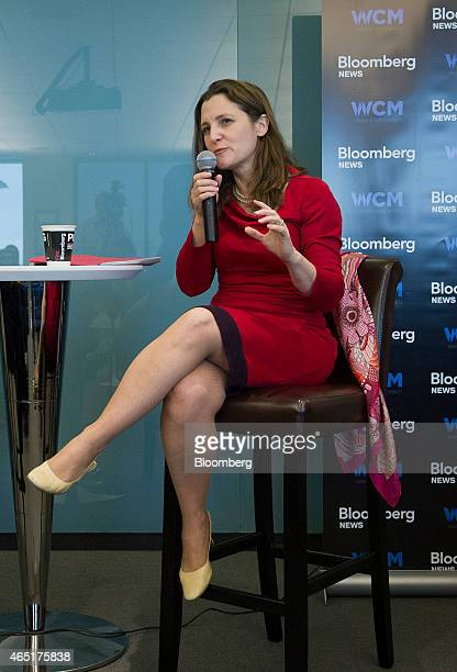 Chrystia Freeland Liberal member of parliament and cohead of the party's Economic Council of Advisers speaks during an interview in Toronto Ontario...