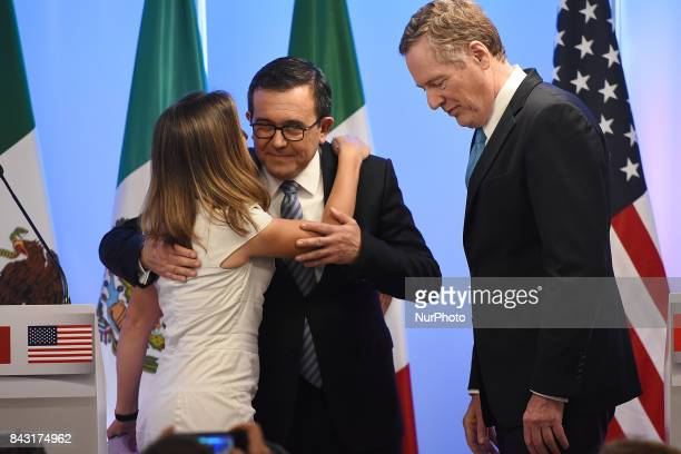 Chrystia Freeland Minister of Foreign Affairs of Canada is seen giving her a kiss on the cheek to Mexico's Secretary of Economy Ildefonso Guajardo...