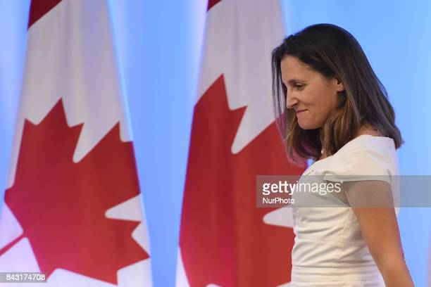 Chrystia Freeland Minister of Foreign Affairs of Canada is seen during his speech at meeting with the media as part of the Second Round of NAFTA...